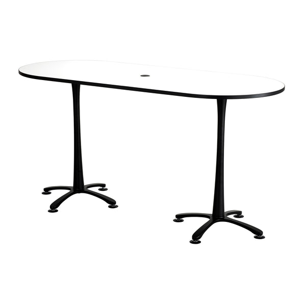 "Cha-Cha™ Teaming Tables, Bistro-Height, Racetrack, 84 x 36"", Designer White Tabletop & Black Base"