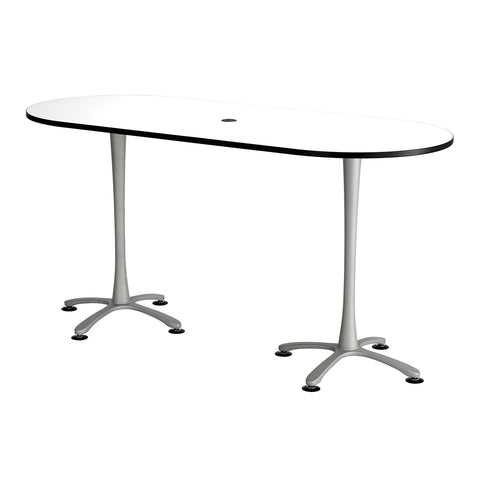 "Cha-Cha™ Teaming Tables, Bistro-Height, Racetrack, 84 x 36"", Designer White Tabletop & Metallic Gray Base"