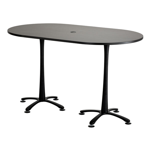 "Cha-Cha™ Teaming Tables, Bistro-Height, Racetrack, 72 x 42"", Asian Night Tabletop & Black Base"