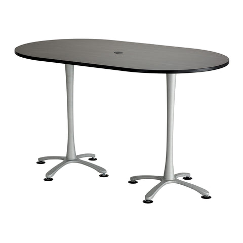 "Cha-Cha™ Teaming Tables, Bistro-Height, Racetrack, 72 x 42"", Asian Night Tabletop & Metallic Gray Base"