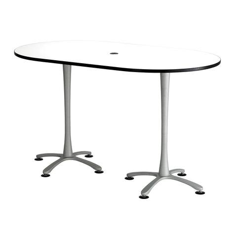 "Cha-Cha™ Teaming Tables, Bistro-Height, Racetrack, 72 x 42"", Designer White Tabletop & Metallic Base"