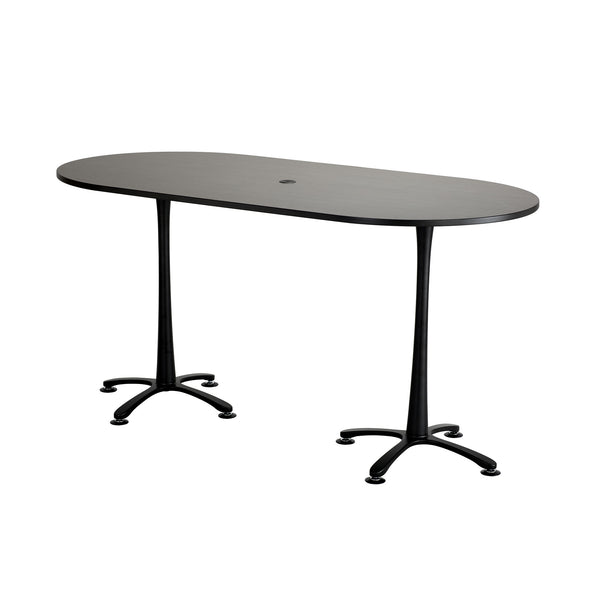 "Cha-Cha™ Teaming Tables, Bistro-Height, Racetrack, 84 x 42"", Asian Night Tabletop & Black Base"