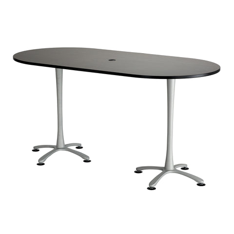 "Cha-Cha™ Teaming Tables, Bistro-Height, Racetrack, 84 x 42"", Asian Night Tabletop & Metalli Gray Base"