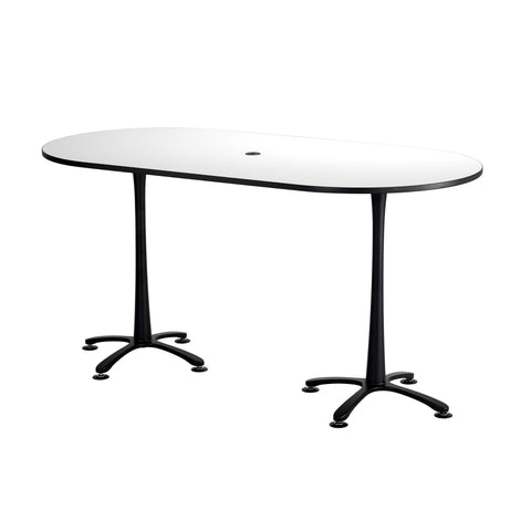 "Cha-Cha™ Teaming Tables, Bistro-Height, Racetrack, 84 x 42"", Designer White Tabletop & Black Base"