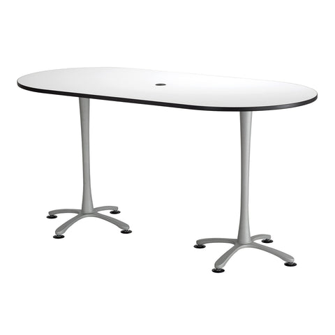 "Cha-Cha™ Teaming Tables, Bistro-Height, Racetrack, 84 x 42"", Designer White Tabletop & Metallic Gray Base"