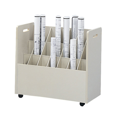 Mobile Roll File, 21 Compartment, Putty