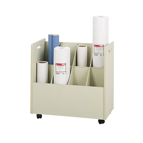 Mobile Roll File, 8 Compartment, Putty