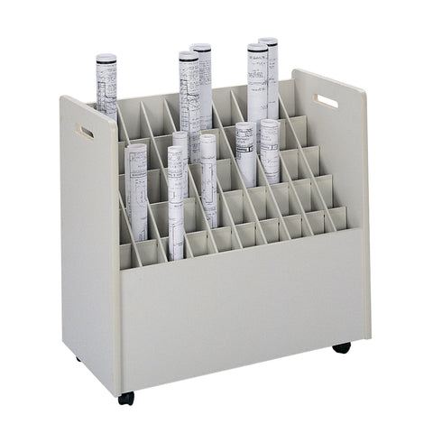 Mobile Roll File, 50 Compartment, Putty