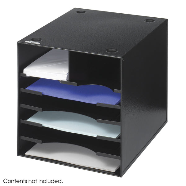 Steel Desktop Organizer, 7 Compartment, Black