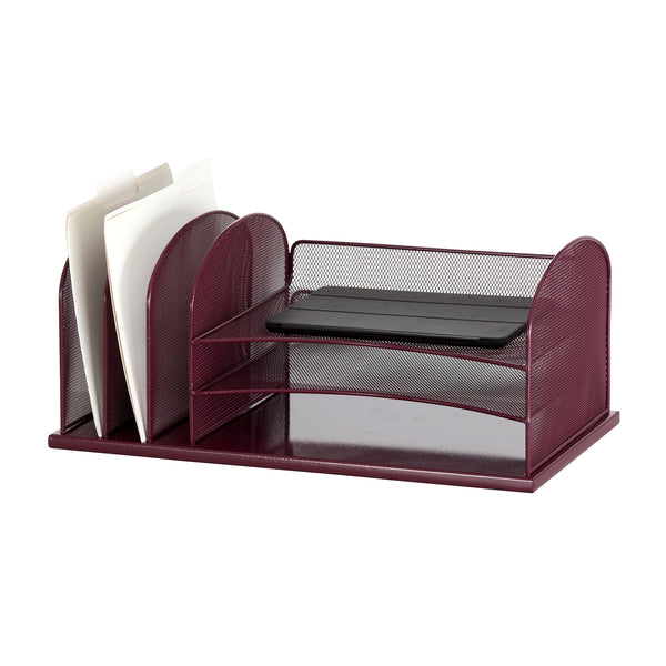 Onyx™ Desk Organizer, 3 Horizontal/3 Upright Sections, Mesh, Wine