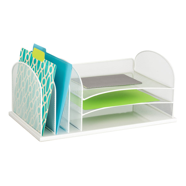 Onyx™ Desk Organizer, 3 Horizontal/3 Upright Sections, Mesh, White