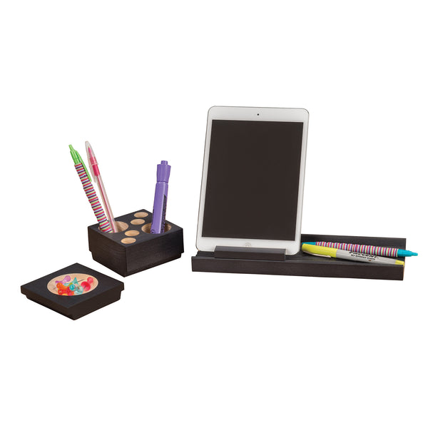 Splash™ Multi-Colored Wood Desk Set, Black