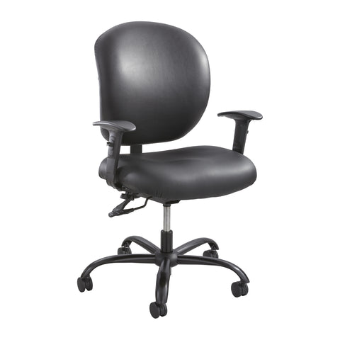 Alday™ Task Chair, 24/7, Black Vinyl