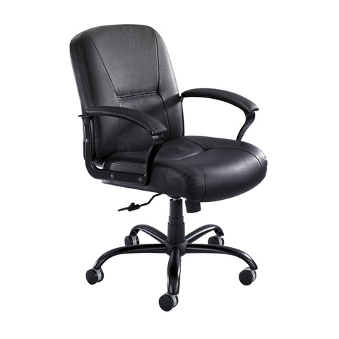 Serenity™  Big & Tall Mid Back Chair, Leather, Black