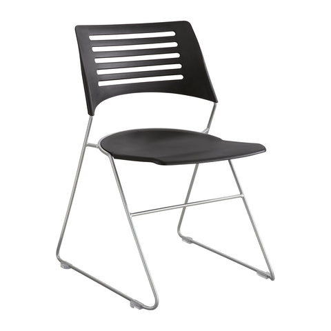 Pique™ Stack Chair, Black Plastic Seat & Back, Silver Base