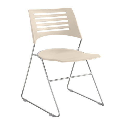Pique™ Stack Chair, Latte Plastic Seat & Back, Silver Base