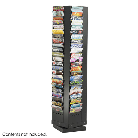 Steel Rotary Magazine Rack, 92 Pocket, Black