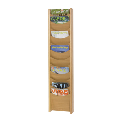 Wood Magazine Rack, 12 Pocket, Medium Oak