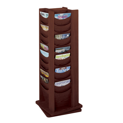 Wood Rotating Literature Display, 48 Pocket, Mahogany