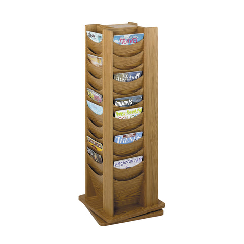 Wood Rotating Literature Display, 48 Pocket, Medium Oak