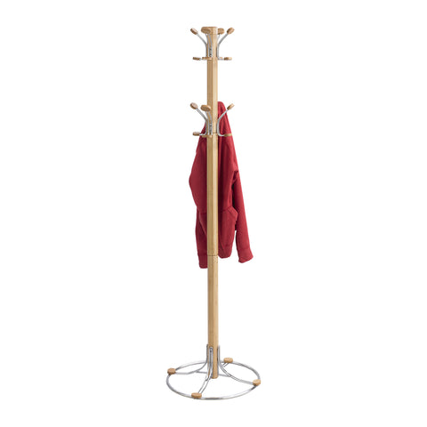 Bamboo Coat Rack, 8 Double Hooks, Natural