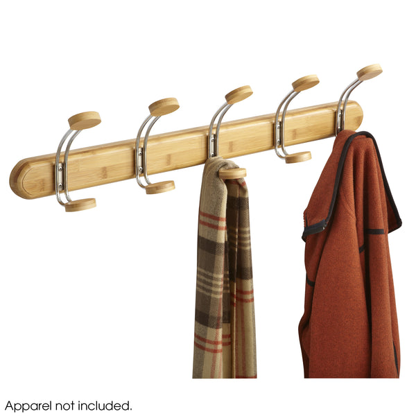 Bamboo Wall Coat Rack, 5 Hook, Natural