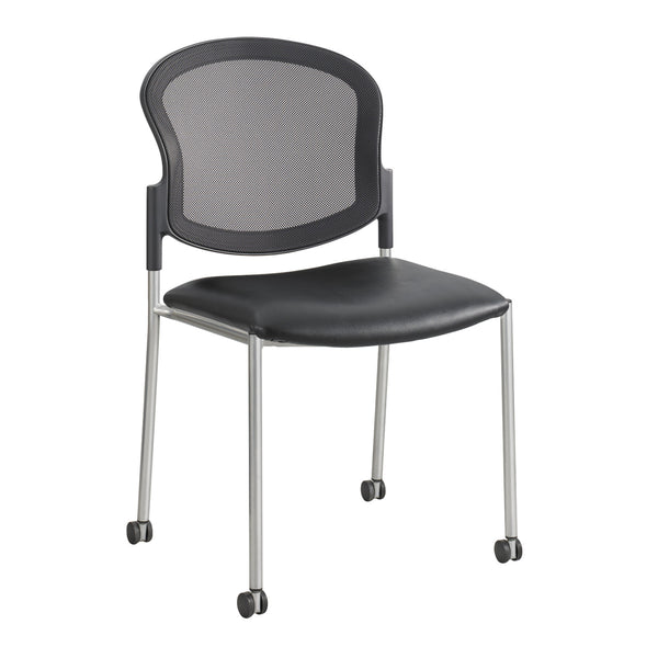 Diaz™ Guest Chair, Mesh Back, Black Vinyl