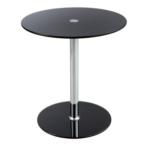 Glass Accent Table, Tempered Glass, Black