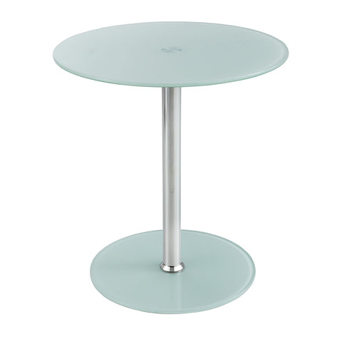 Glass Accent Table, Tempered Glass, White