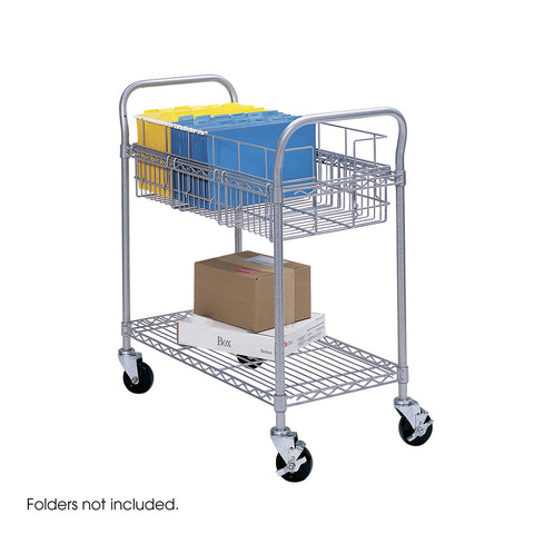 "Wire Mail Cart, 24""W, Gray"