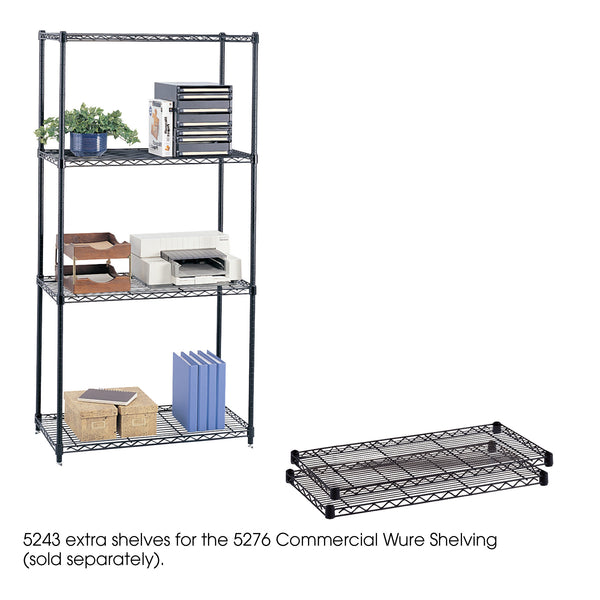"Commercial Wire Shelving, Extra Shelf Pack, 36 x 18"", Black"