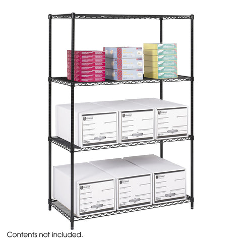 "Industrial Wire Shelving, 48 x 24"", Black"