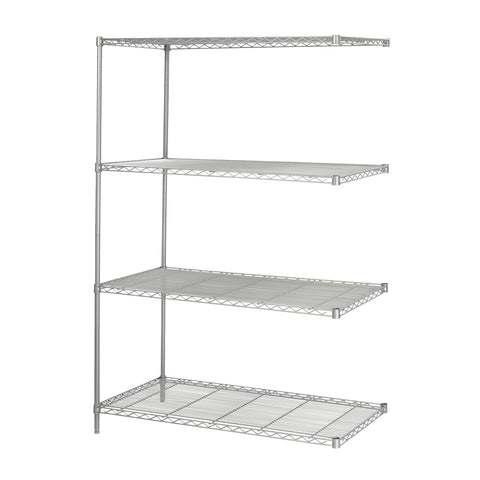 "Industrial Wire Shelving, Add-On Kit, 48 x 24"", Gray"
