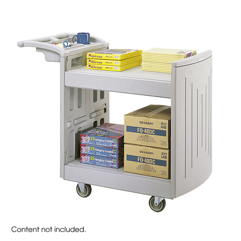 Molded Utility Cart, 2 Shelves, Gray