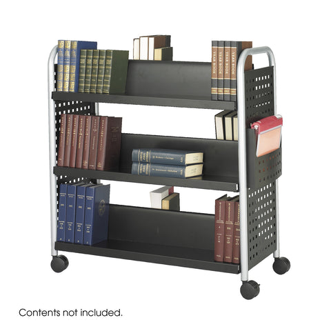Scoot™ Double-Sided Book Cart, 6 Shelves, Black