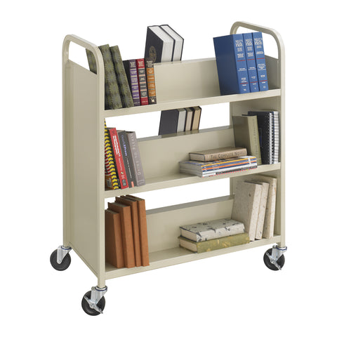 Steel Double-Sided Book Cart, 6 Sheves, Tan