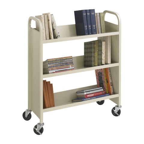 Steel Single-Sided Book Cart, 3 Shelves, Tan
