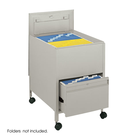 Locking Mobile Tub File with Drawer, Tan