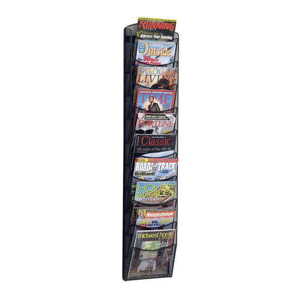 Onyx™ Magazine Rack, 10 Pocket, Mesh, Black