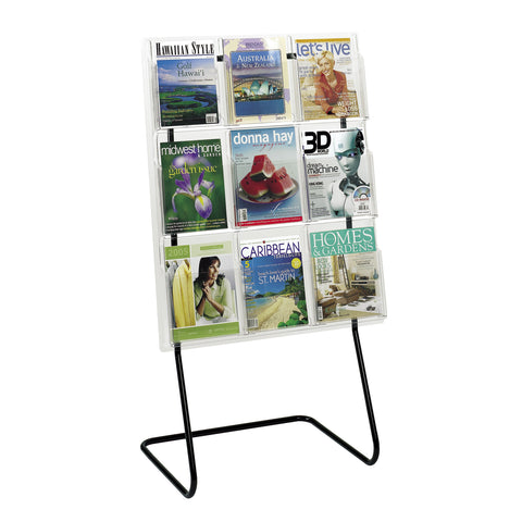 Magazine Literature Organizer Display Floor Stand, Black