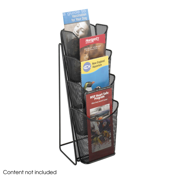 Onyx™ Pamphlet Display, 4 Pocket, Mesh, Black