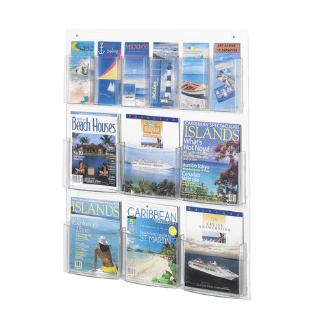 Clear2c™ Literature Organizer Display, 6 Magazine and 6 Pamphlet