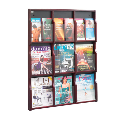 Expose™ Literature Organizer Display, 9 Magazine 18 Pamphlet, Mahogany