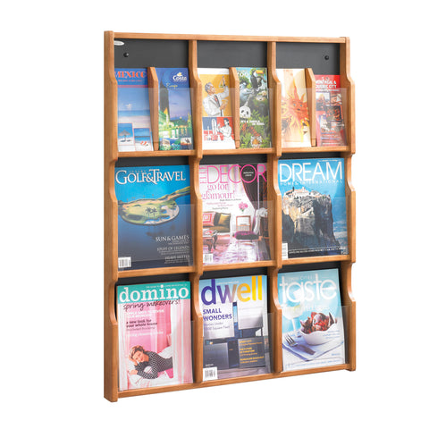 Expose™ Literature Organizer Display, 9 Magazine 18 Pamphlet, Medium Oak