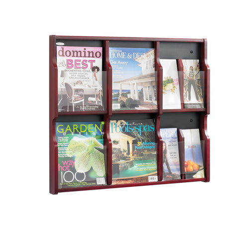 Expose™ Literature Organizer Display, 6 Magazine 12 Pamphlet, Mahogany