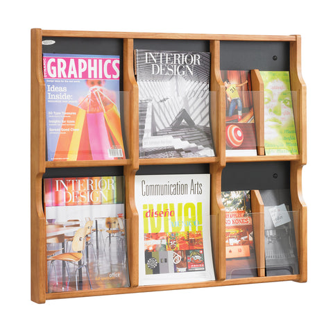 Expose™ Literature Organizer Display, 6 Magazine 12 Pamphlet, Medium Oak