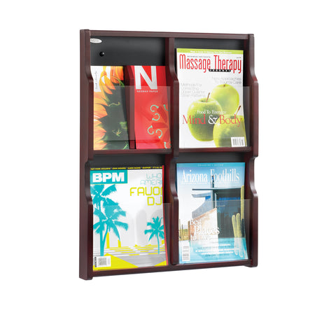 Expose™ Literature Organizer Display, 4 Magazine 8 Pamphlet, Mahognay