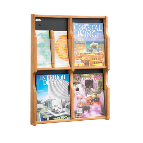 Expose™ Literature Organizer Display, 4 Magazine 8 Pamphlet, Medium Oak