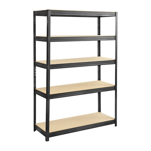 "Boltless Steel and Particleboard Shelving, 48 x 18"", Black"