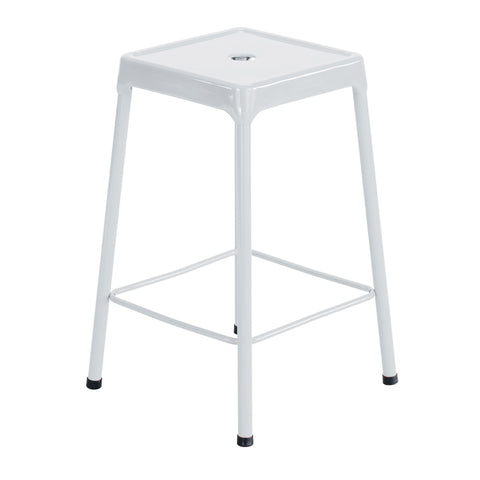 "Safco® Steel Stool, Counter-Height, 25""H, White"